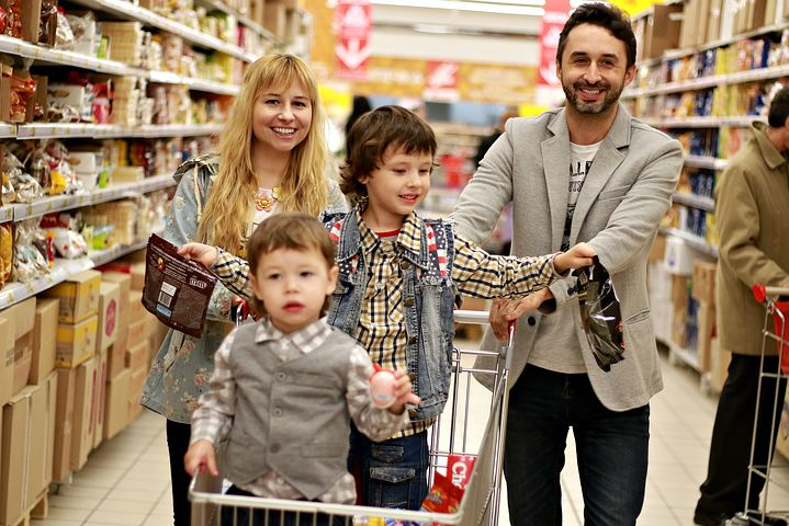 family while shopping