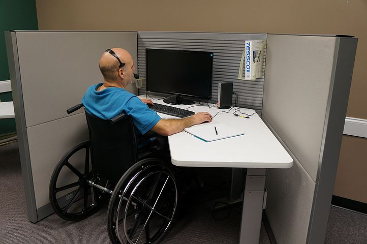 disabled man working